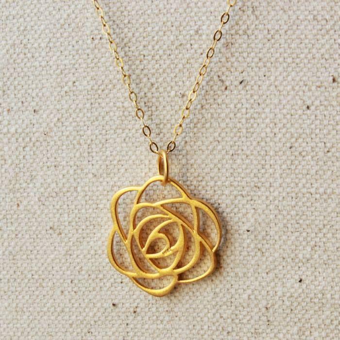 Large Gold Vermeil art deco rose.