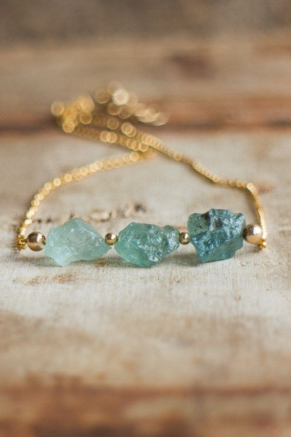 Photo of March Birthstone Necklace, Raw Aquamarine Choker Necklace, Gift for Her, Raw Stone Jewelry, Delicate Necklace, March Birthday Gift for Women