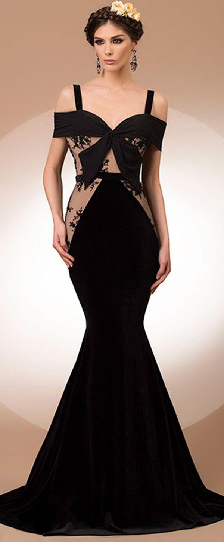 Stunning tulle u chiffon spaghetti straps neckline mermaid evening