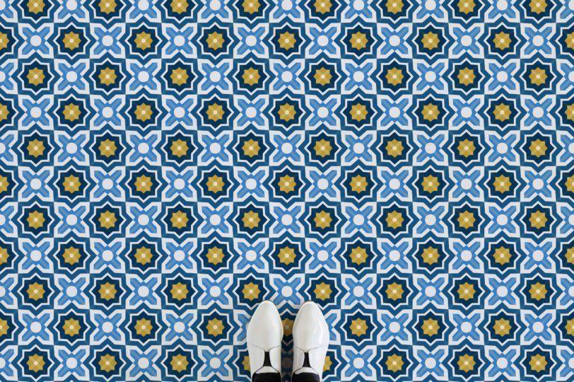 Tangier Moroccan Pattern Vinyl Flooring Blue Feet Vinyl Flooring