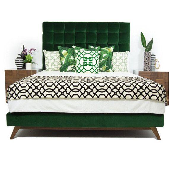 Tufted Bed Velvet Platform Low Profile Royal By Harrismarkshome