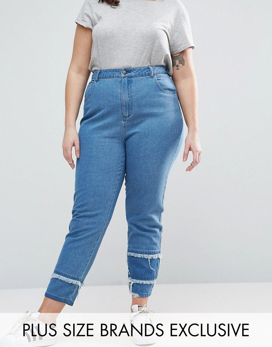 Daisy Street Plus Mom Jean With Patchwork Ripped Hem - Blue