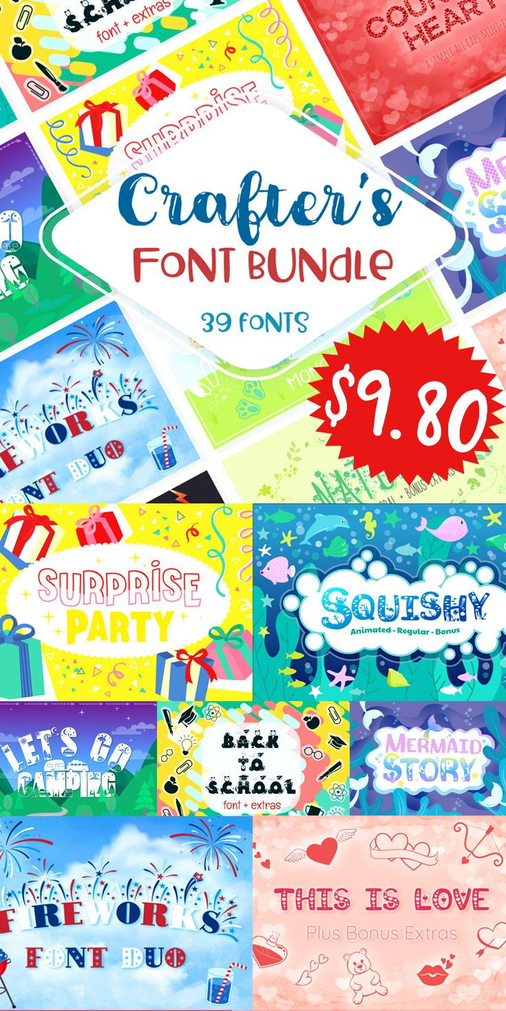 Download Sale! Crafter's Huge Font Bundle | 39 Fonts in 26 Families ...