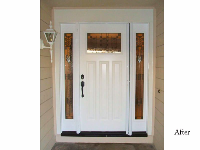 Craftsman Plastpro Fiberglass Entry Door System Model Drs6c With Spring Glass Installed In