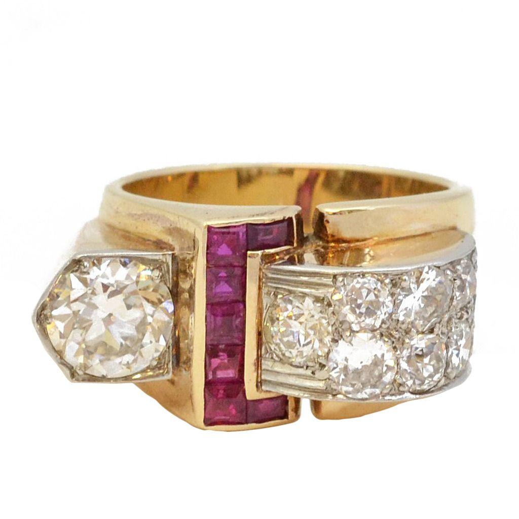 1940s Retro Diamond Ruby Gold Dress Ring 1stdibs Com Retro Jewelry Dress Rings Jewelry