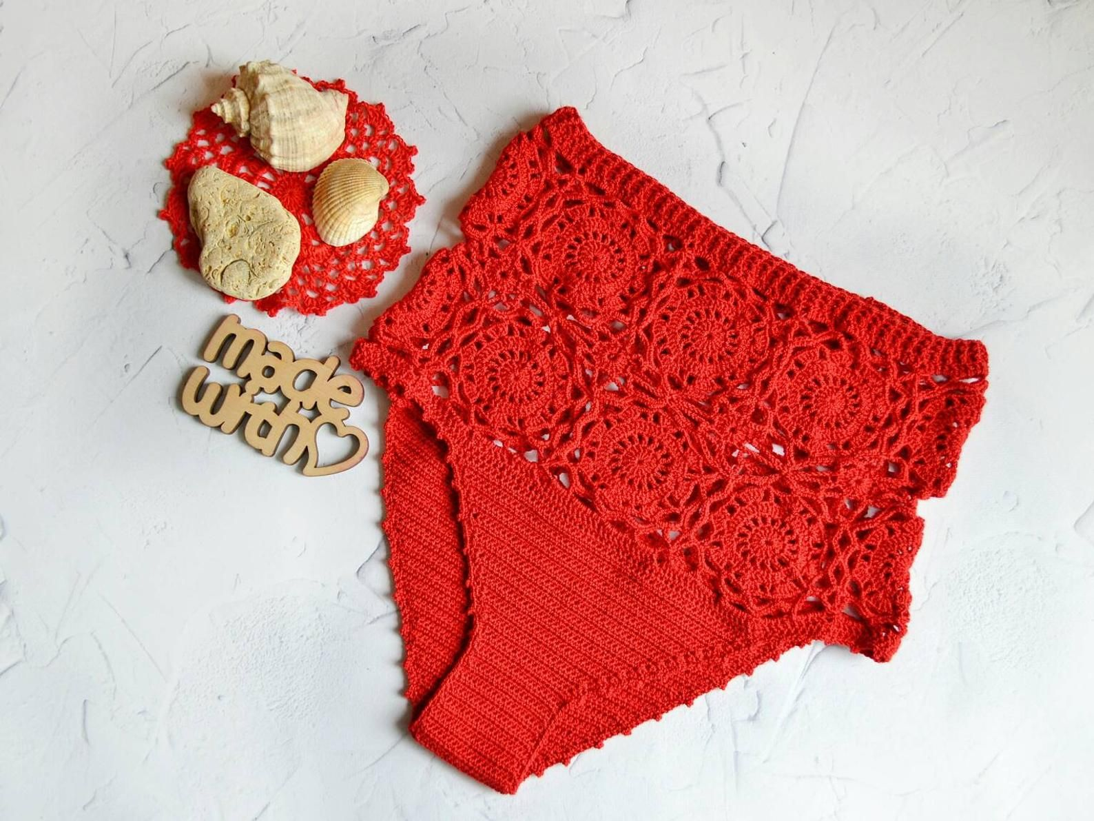 Crochet bikini set Swim set Hihgt waist bottom Crochet bikini Lace up top Red crochet bikini set Sexy bikini Beach wear Gift for a girl