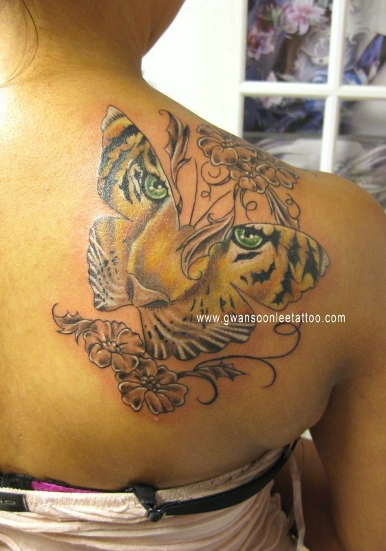 3fc644219e0c5 Tiger Tattoos | Butterfly Tiger Tattoo with Flowers on Back ...