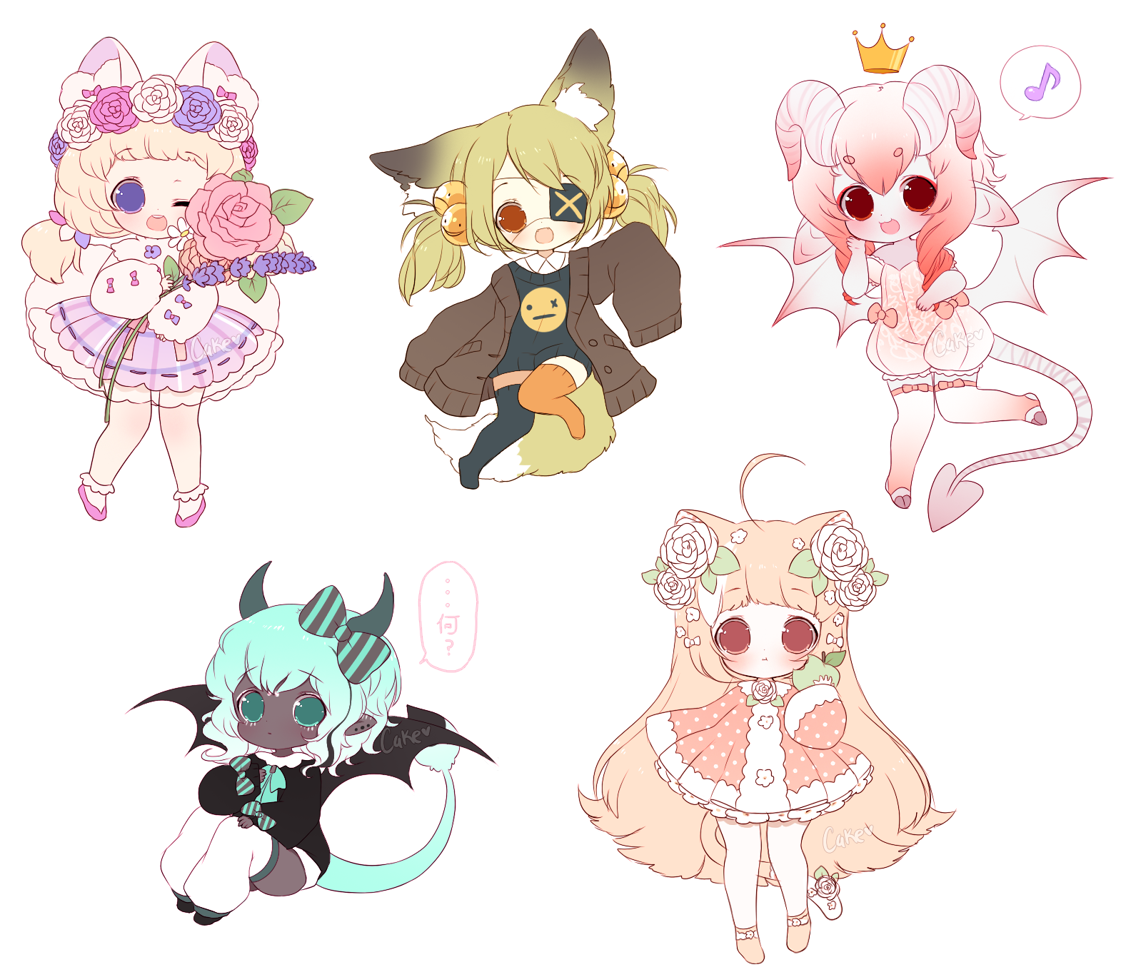 Chibi Sketch Batch 1 by CakeChan Chibi sketch, Cute