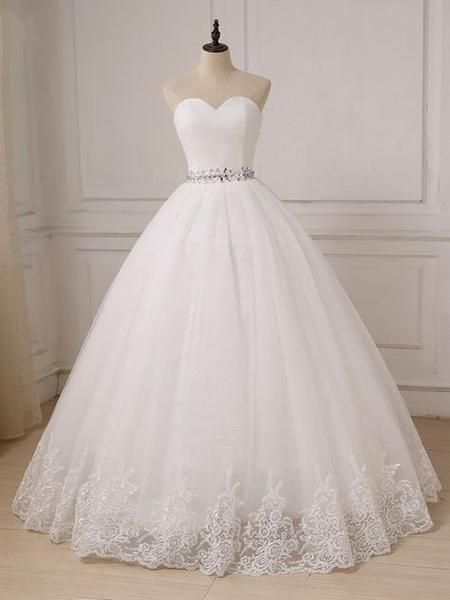 Photo of white wedding dress strapless wedding dress tulle ball gown wedding dress lace applique wedding dress