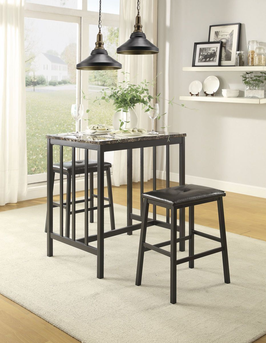 Edgar Collection Counter Height 3 Pc Dinning Table Set(Table, 4 Stools)  Richly