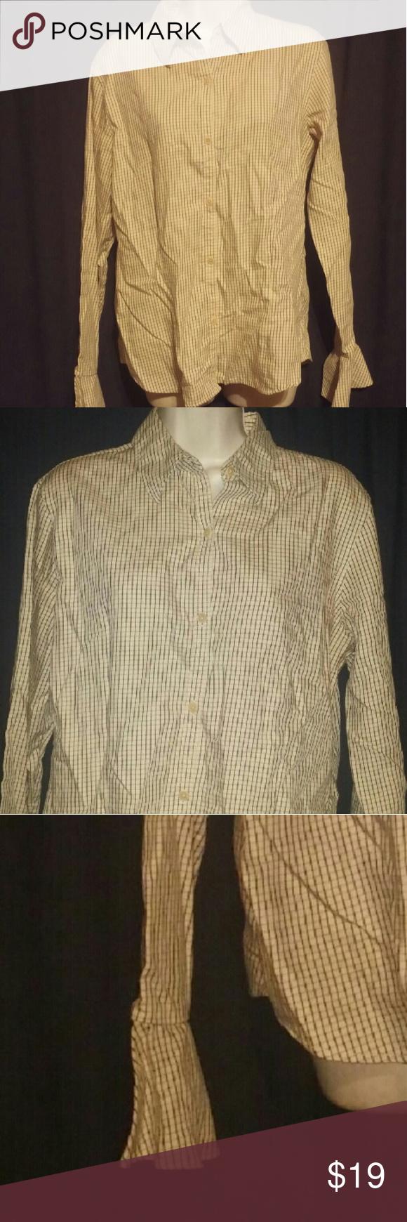 59d299531095 Beige Black Checkered Ruffle Cuff Top L Like new 100% cotton shirt. Ruffle  cuffs. Great for work or casual wear Lauren Ralph Lauren Tops Blouses