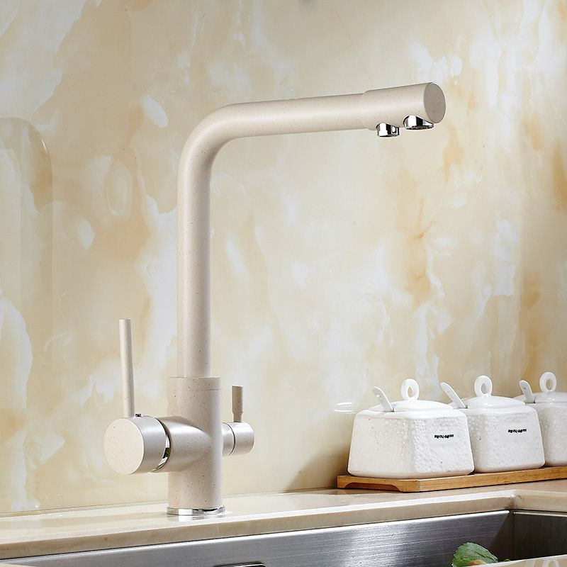 Solid Brass Beige White Kitchen Faucet Double Spout Drinking Water ...
