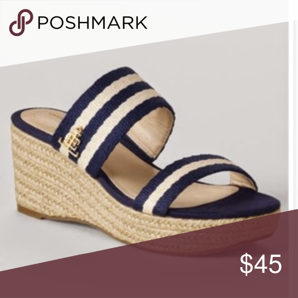 4591eefd99e Land's End Striped mid Wedge mule sandal Picturing Land's End ...