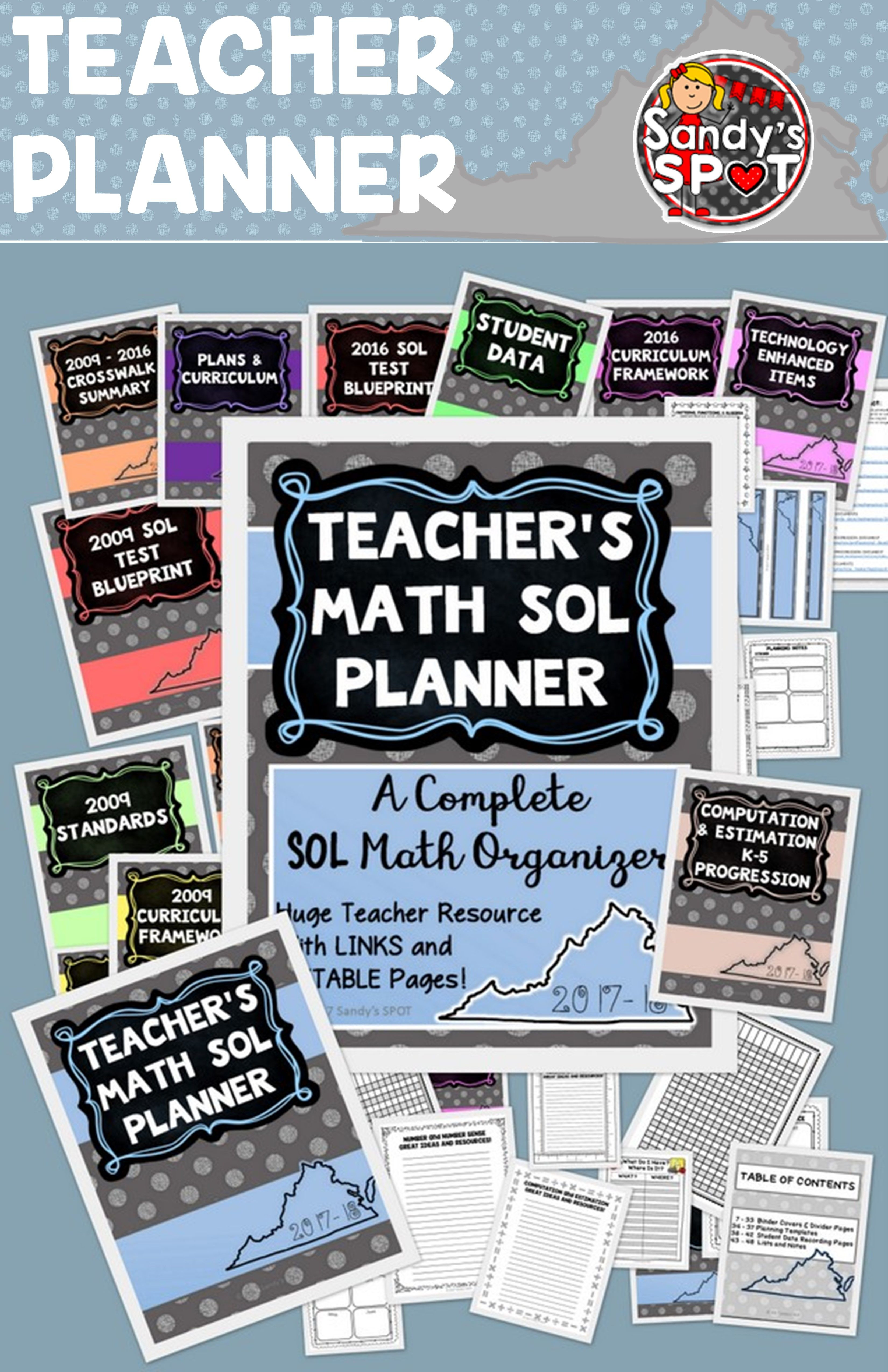 Virginia teacher planner sol math 2017 sandys spot pinterest if you teach math in virginia this teacher planner is a great tool for organizing and planning malvernweather Choice Image