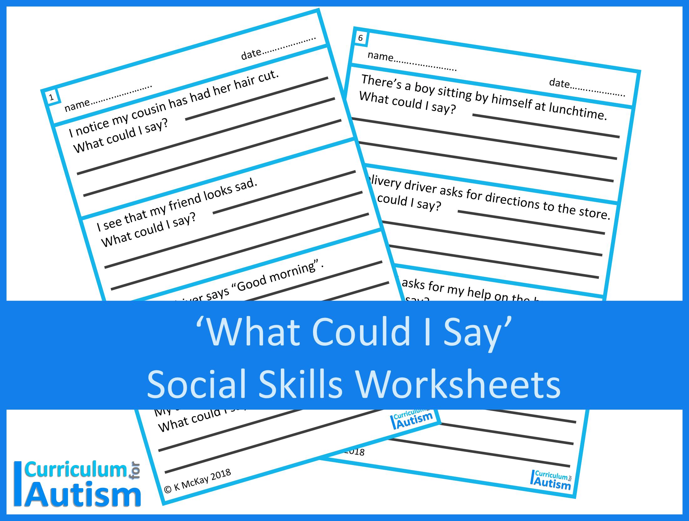 Social Skills What Could I Say Scenarios Worksheets