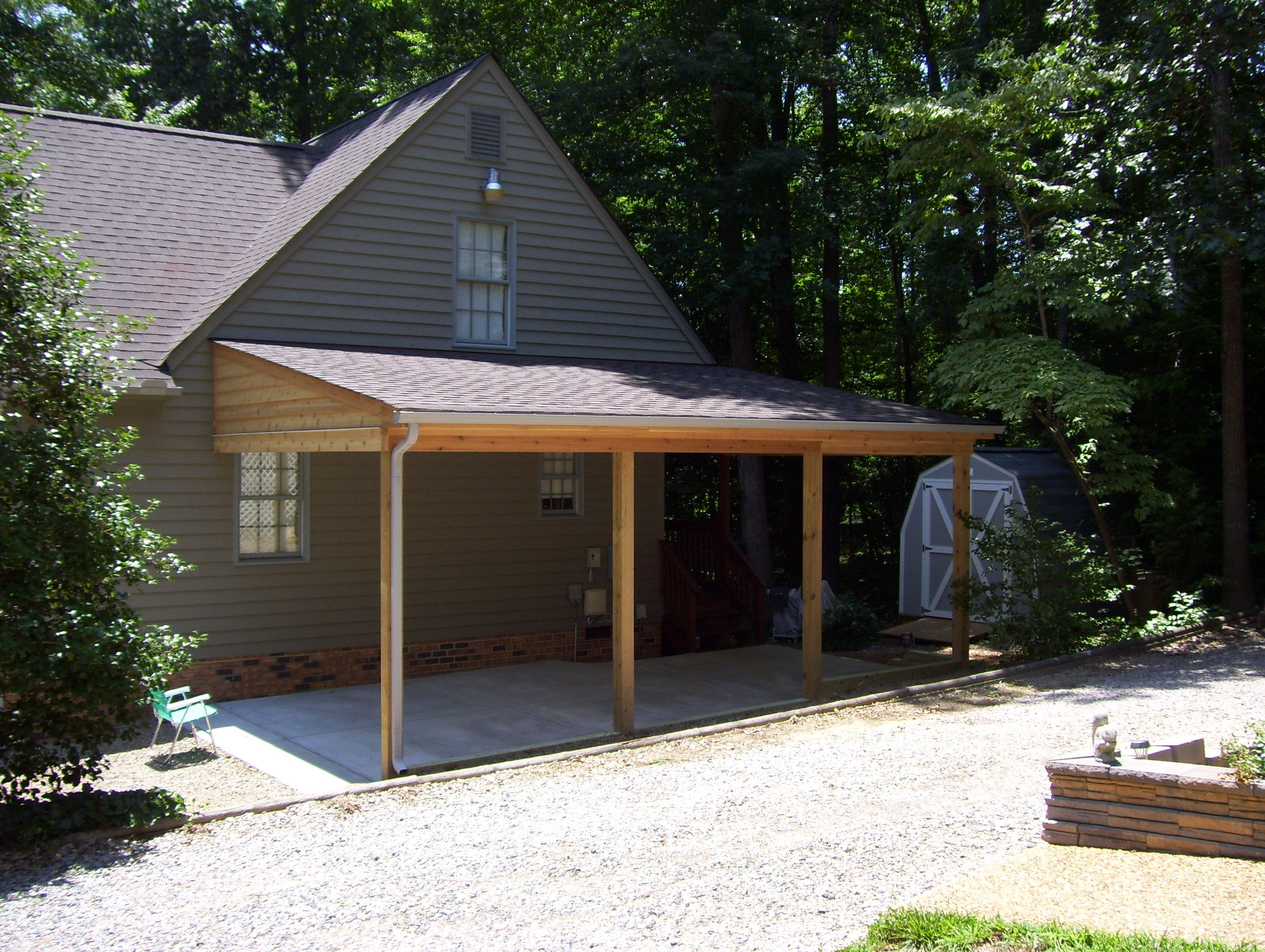 carport attached to side of house google search patios pinterest. Black Bedroom Furniture Sets. Home Design Ideas