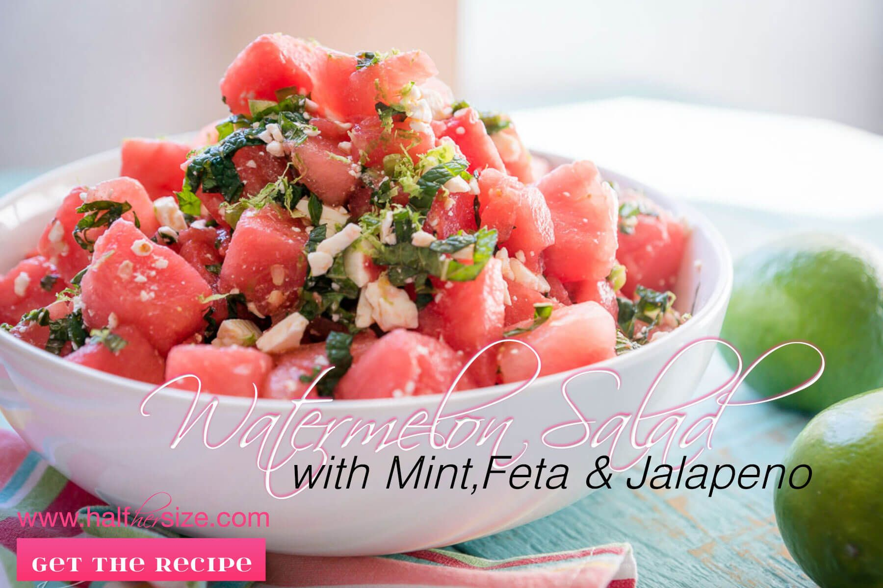 Zesty watermelon salad is a slightly more grown up way to serve everyone's favorite simple summer side dish. Easy make and take picnic or barbecue recipe.