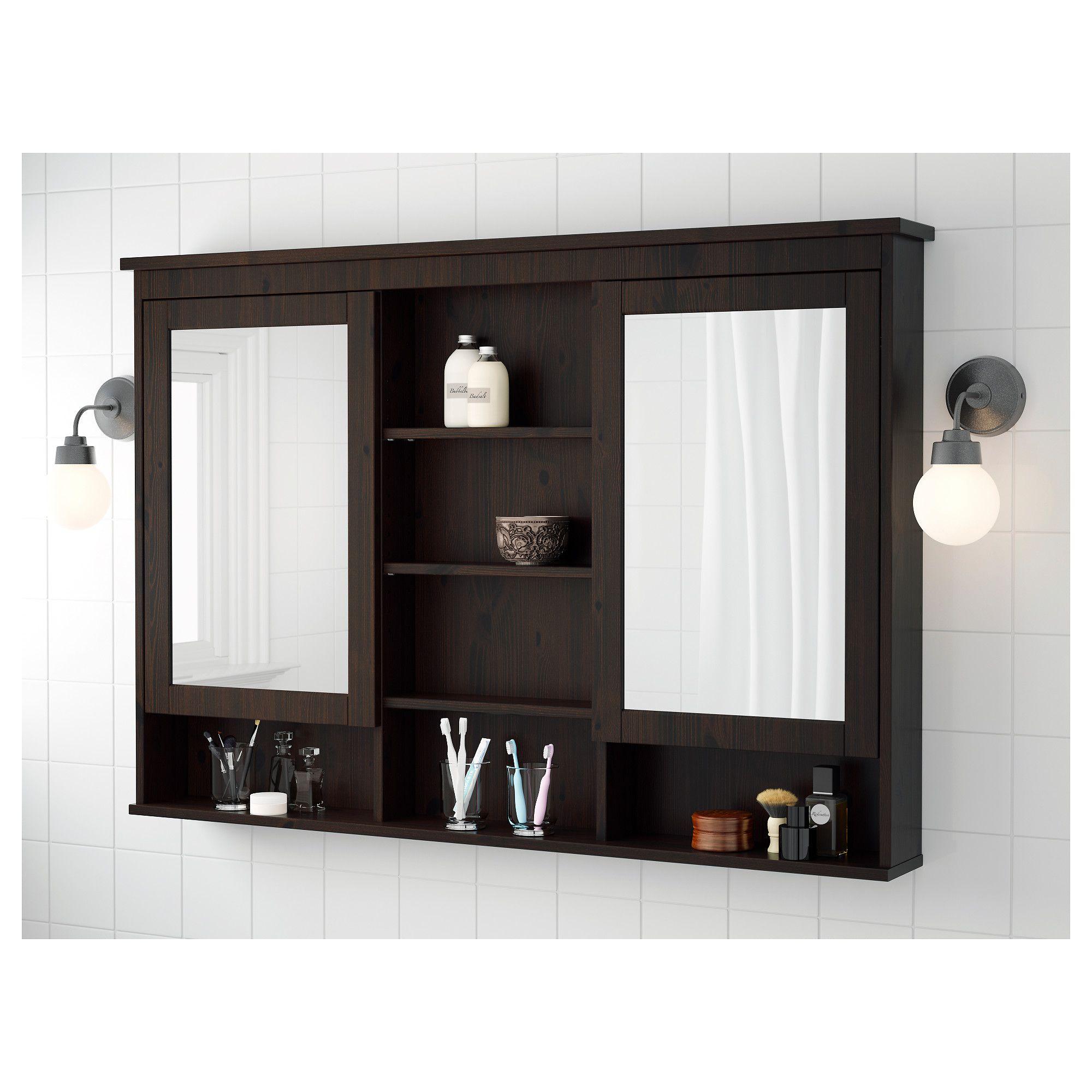 HEMNES Mirror cabinet with doors blackbrown stain Salle de