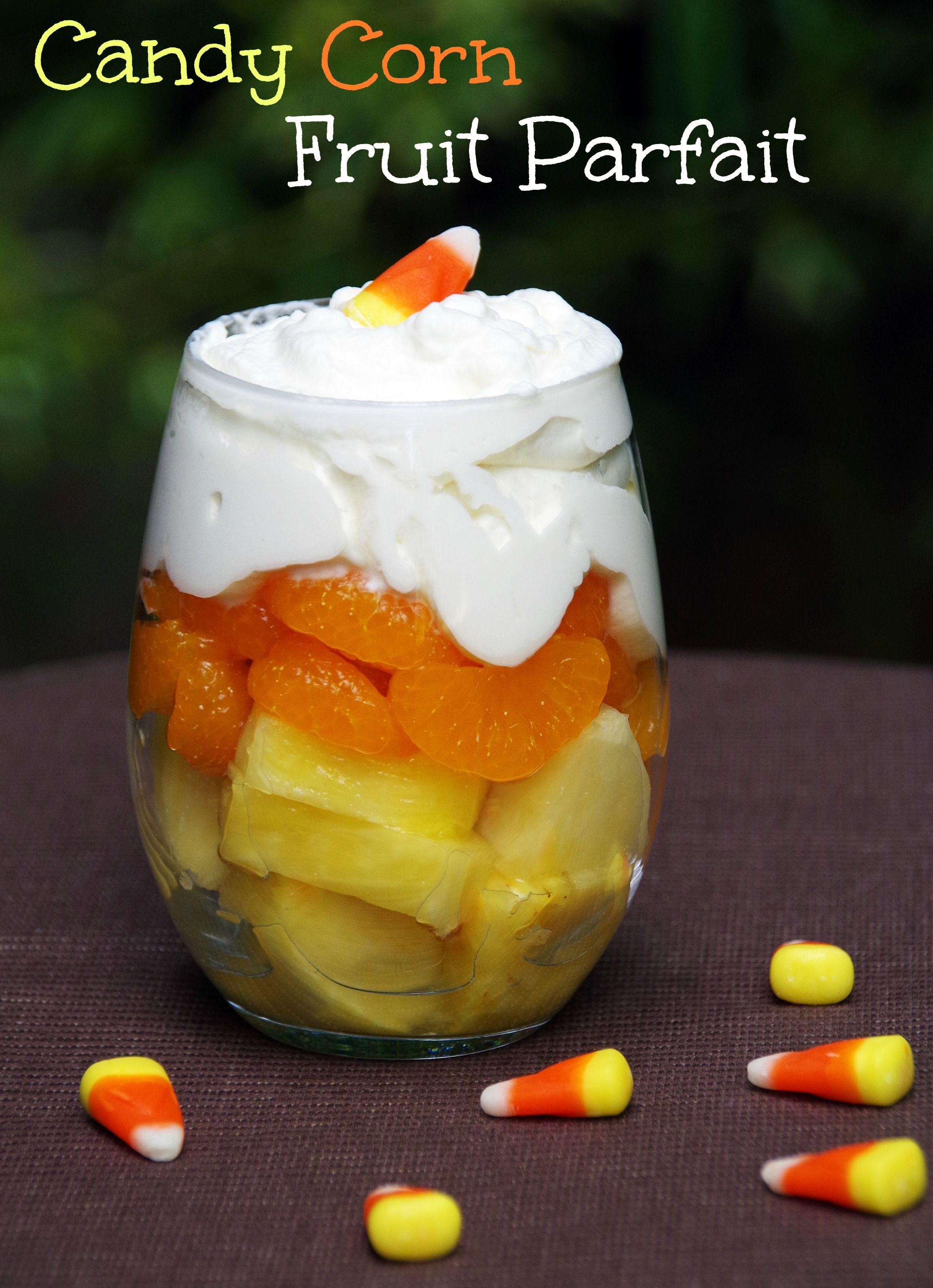 Healthy Halloween Dessert: Candy Corn Fruit Parfait
