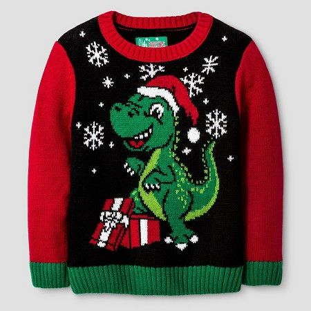 Ugly Christmas Sweater Toddler Boys' Dinosaur Sweater - Black ...