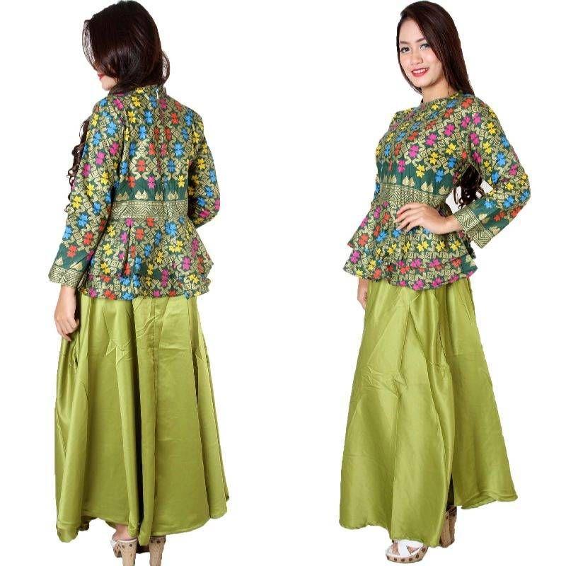 Model Baju Batik Atasan Kombinasi Bawahan Rok Panjang Terbaru