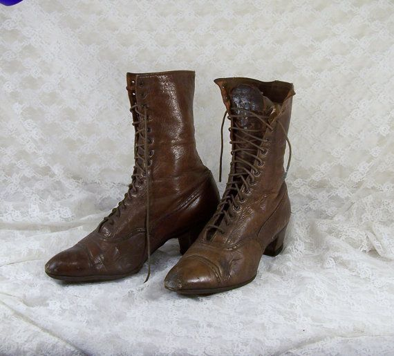 422ab28281d Authentic 1800's Victorian Shoes, Lace Up Granny Boots, Steampunk Shoes,  Victorian Nut Brown Leather Boot, Fall Footwear, Halloween Decor