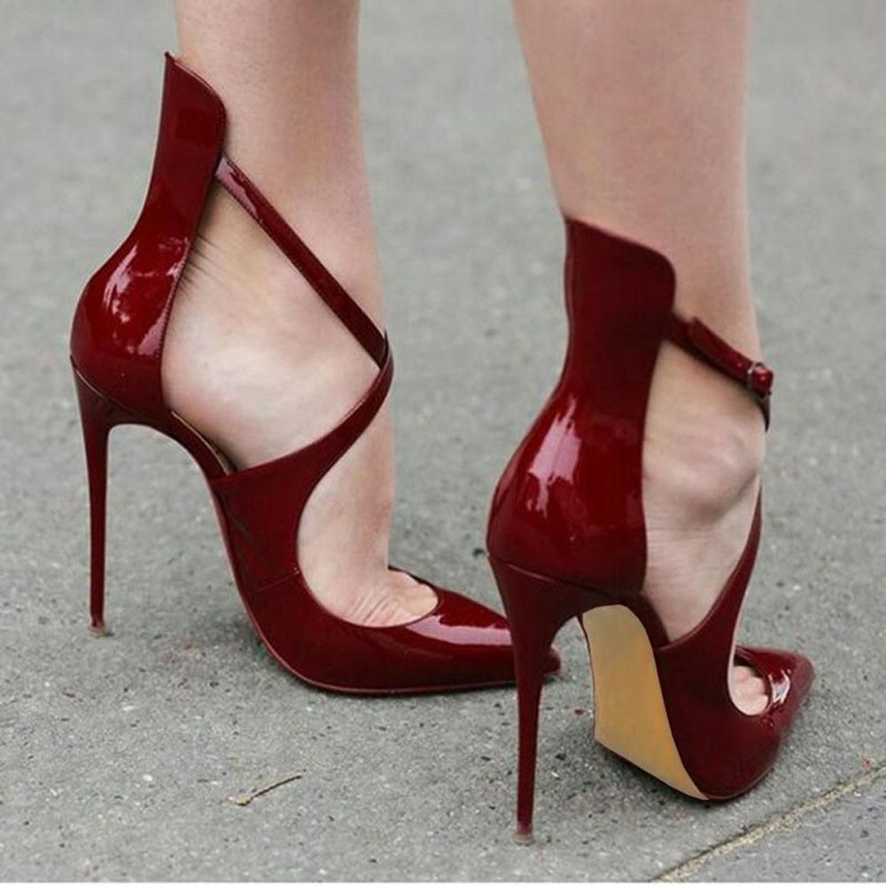 Cut Out Low Cut Pointed Toe Ankle Wrap Stiletto High Heels