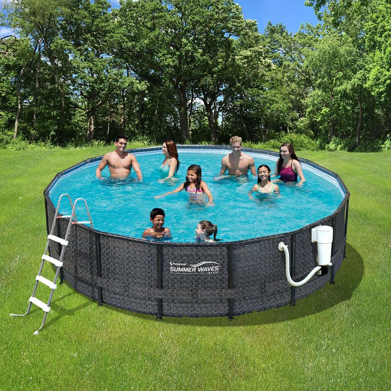 Summer Waves Elite Dark Wicker 15-ft Round Metal Frame Pool Package ...