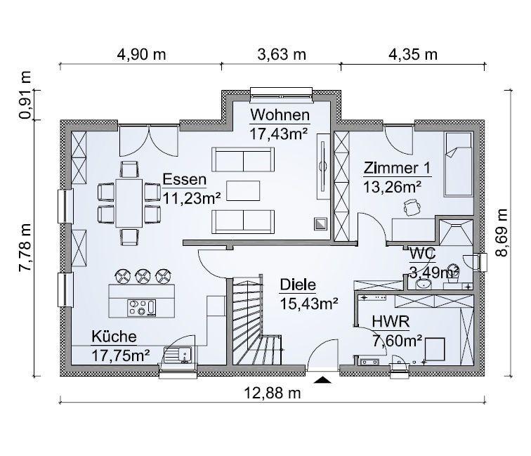 Einfamilienhaus Grundriss Erdgeschoss mit offener Küche & Kochinsel ...