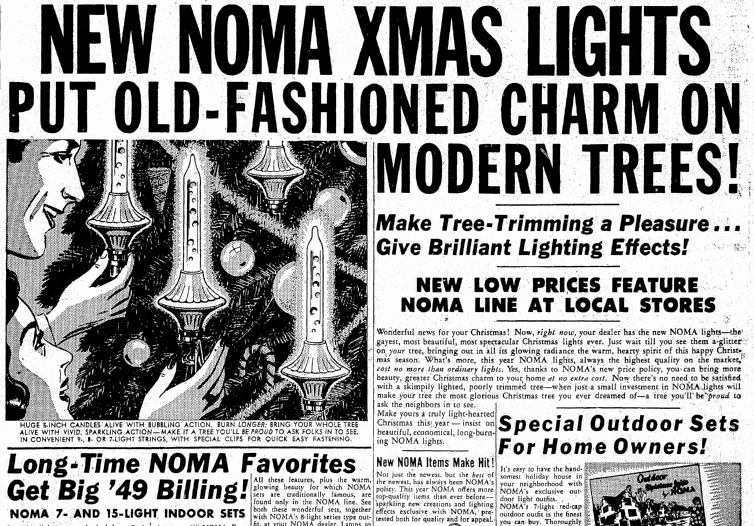 a 1949 newspaper ad for noma christmas tree lights published in the