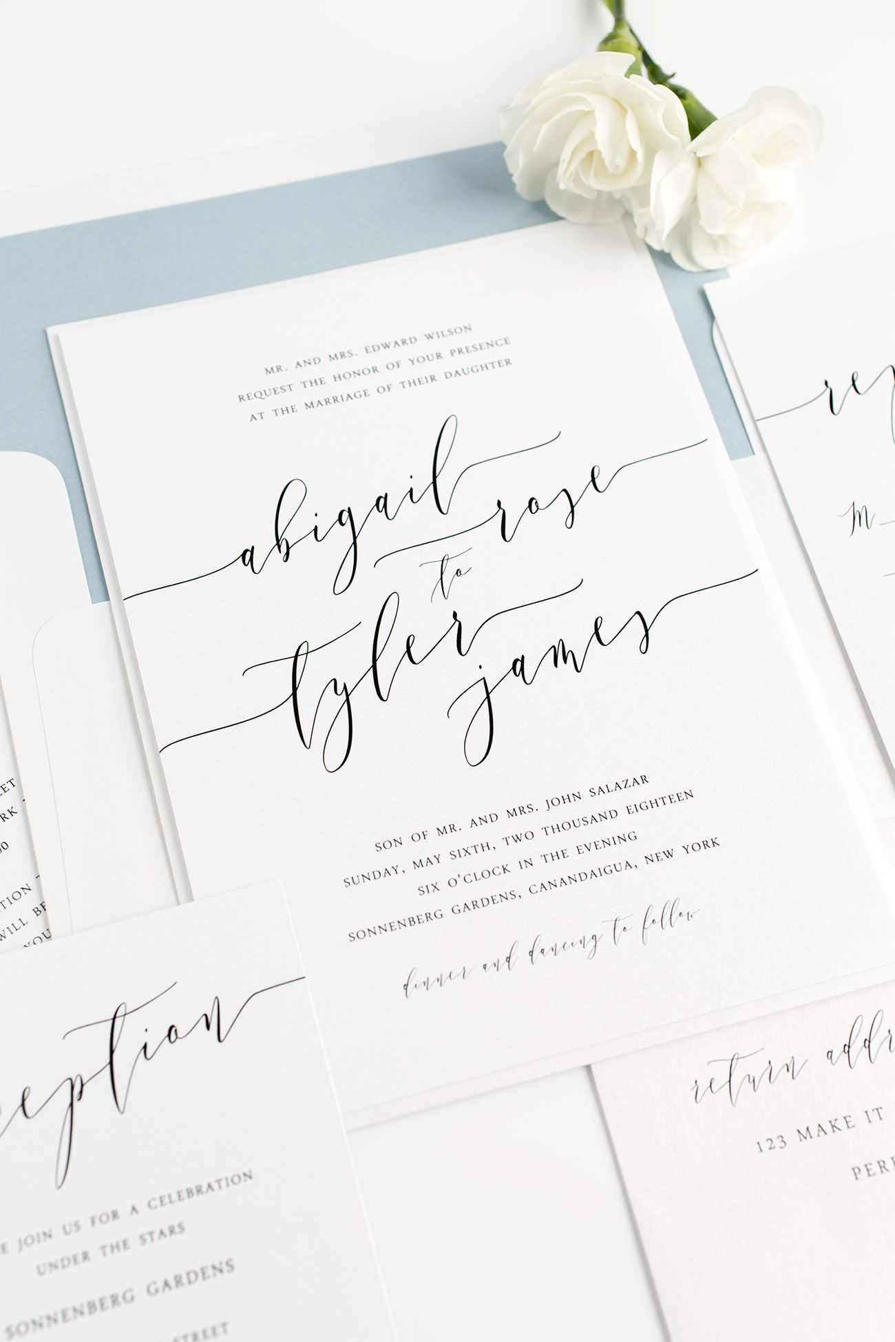 Elegante Bluse Hochzeit Dusty Blue Wedding Invitations With Modern Calligraphy