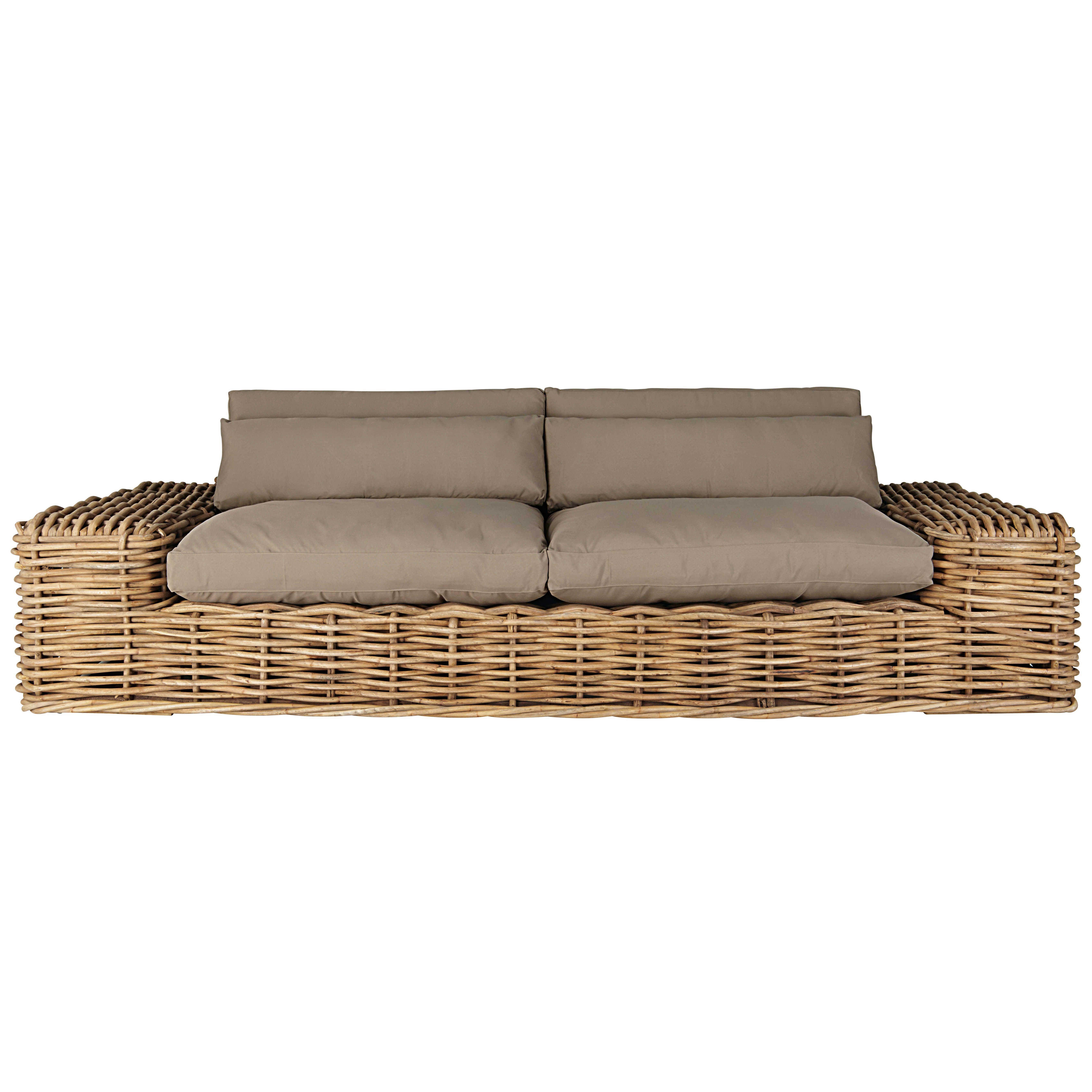 Canapé de jardin 2/3 places en rotin et coussins taupe | Salon de ...