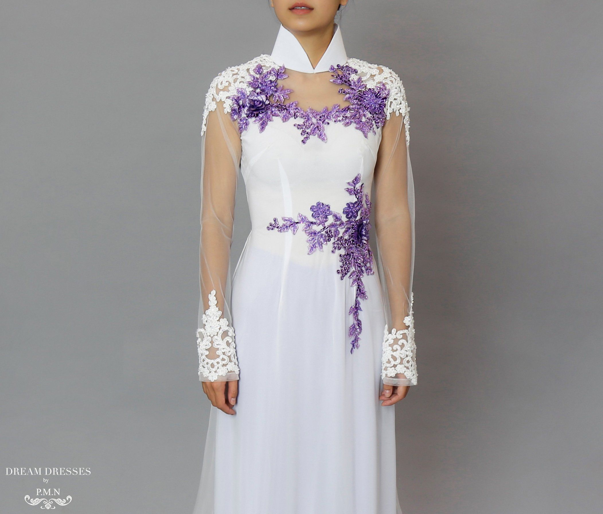 White And Purple Ao Dai Beaded Lace Vietnamese Bridal Dress