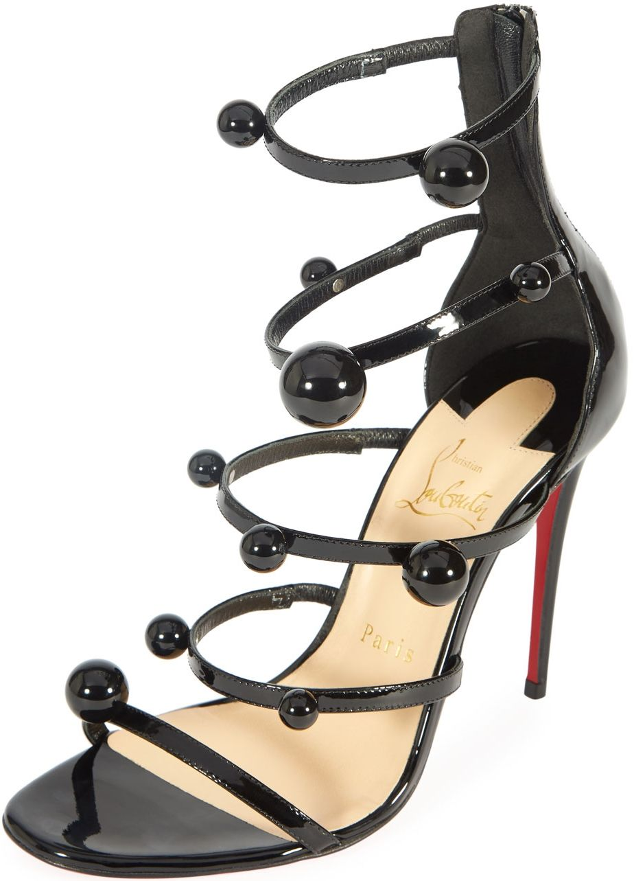 5d3034e9a502d3 Christian Louboutin Atonana black patent strappy red sole sandal with  ball-stud trim