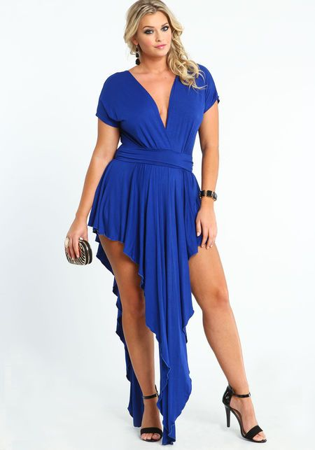Plus Size Black Waterfall Dress, ROYAL BLUE, large | Fashion Plus ...