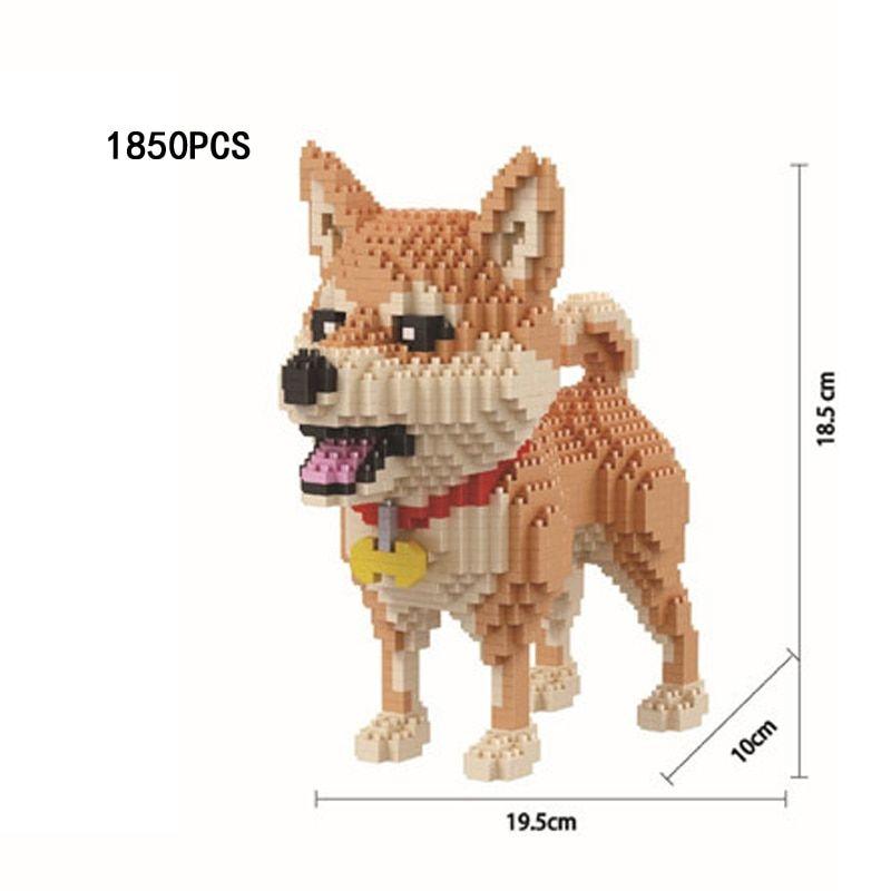 Funny lovely pets dog creator building bricks Shiba inu assemble nanobricks puppy micro diamond bloc