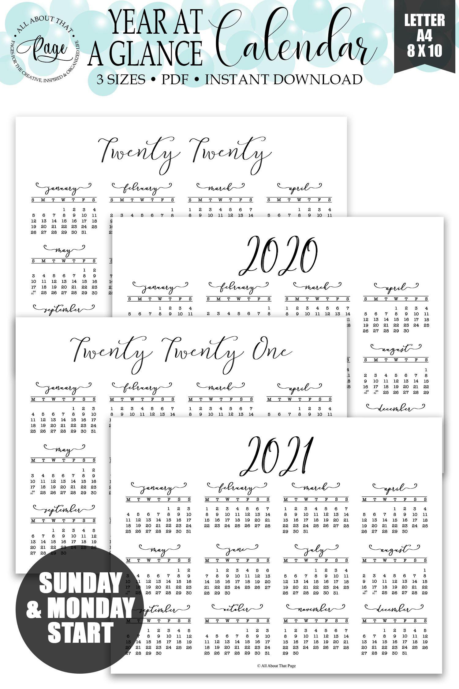 2020 2021 Year at a Glance Calendar Printable, Simple ...