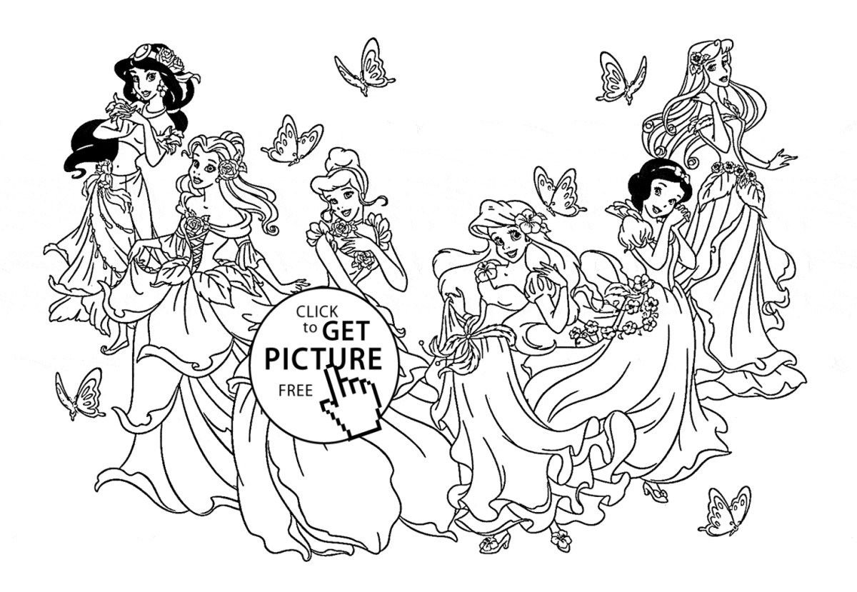 Printable Princess Coloring Pages Six Disney Princesses Coloring