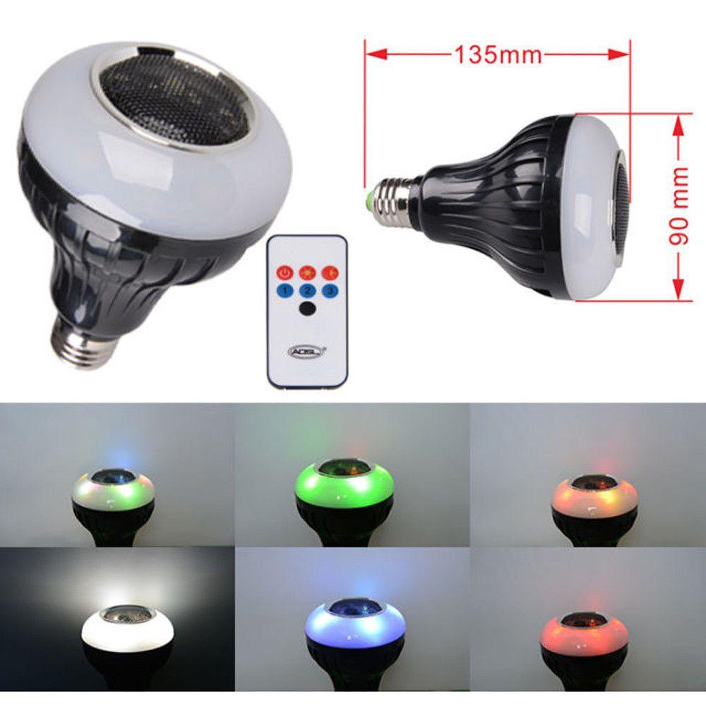 Wireless Bluetooth Speaker LED Bulb Light Lamp White & RGB