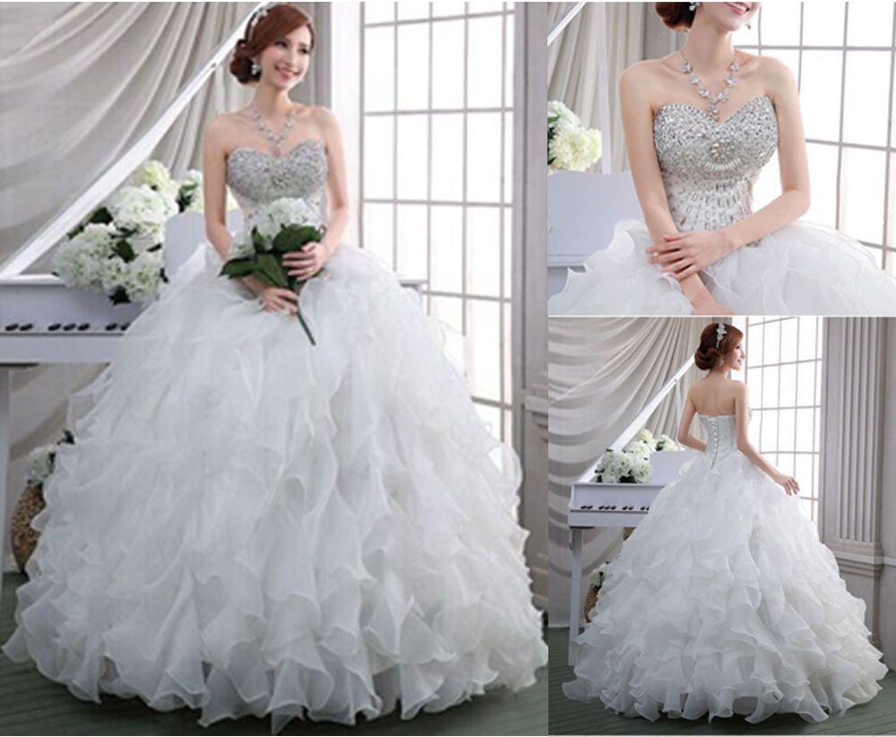 Cool new white sweetheart organza sleeveless ball gown wedding
