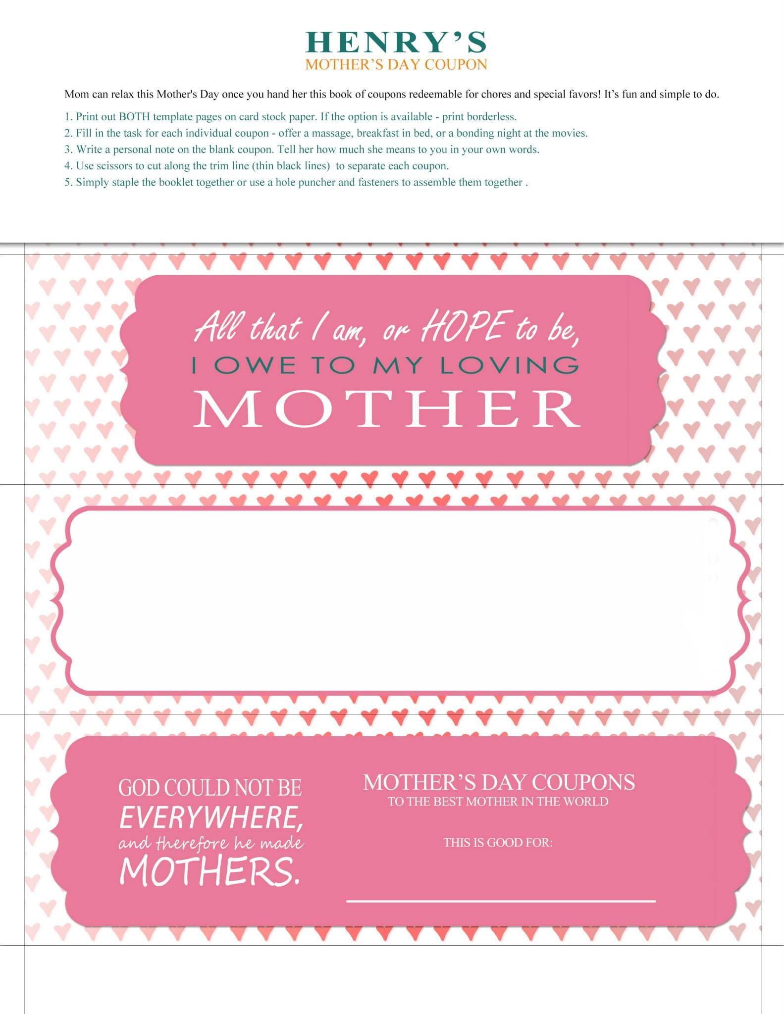 Print, cut then fill out! Customize these printable coupons and let her know how special she is - or share to drop some hints!