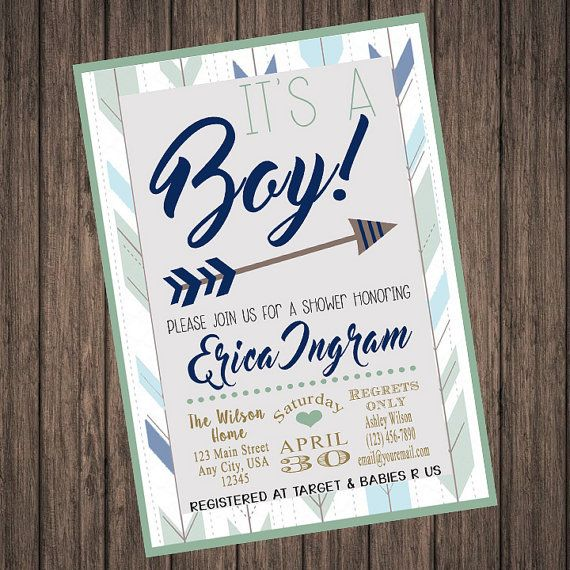 it's a boy! baby shower invitation,hispter,arrow,trendy,boy baby, Baby shower invitations