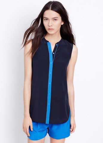 Silk Color Tipped Sleeveless Top