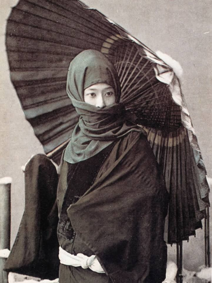 This Japanese Winter Fashion Of Parasolheadscarf Combo Is -2319