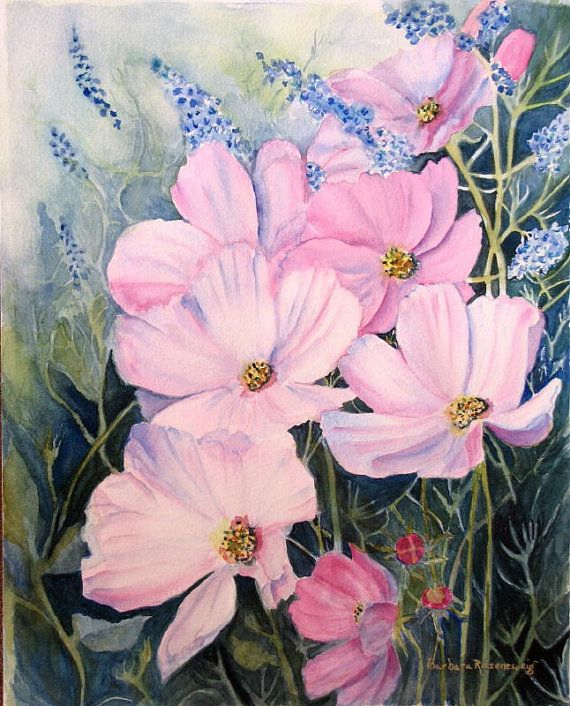 Flower Pink Cosmos Watercolor Painting