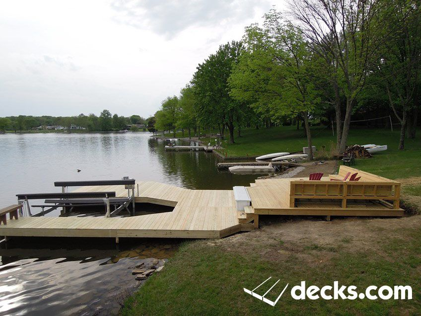 large dock at Lake Lorelei with boat lift | Decks.com Pictures ...