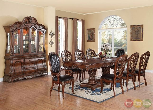 Selene Traditional Dark Wood Formal Dining Set With Buffet And Pleasing Traditional Dining Room Sets Cherry Design Ideas