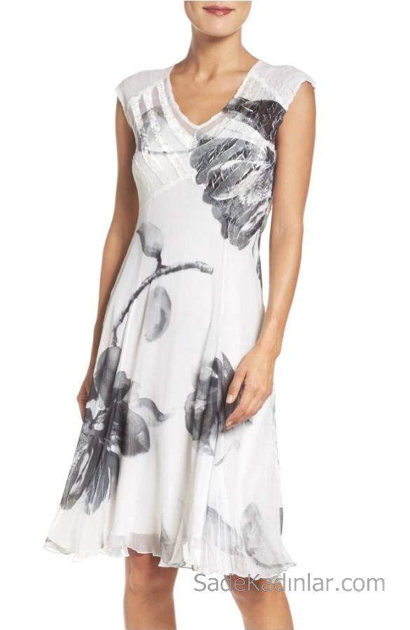 c94151446b0c2 2018 Yazlık Çiçekli Şifon Elbise Modelleri Beyaz Kısa V Yakalı Çiçek Desenli