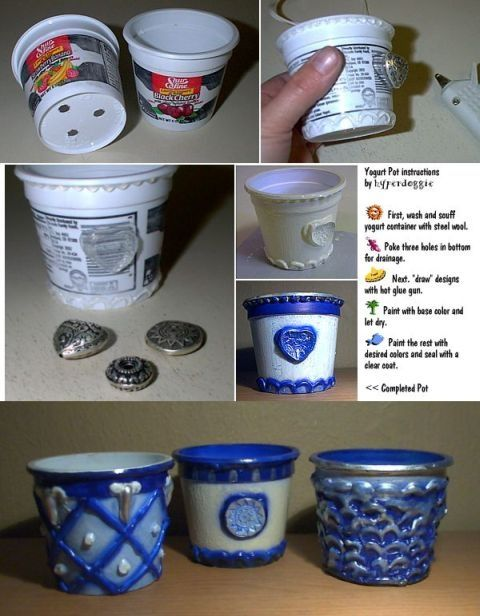 Recycle yogurt cups into planters. (Or maybe pizza cups.. I have a on