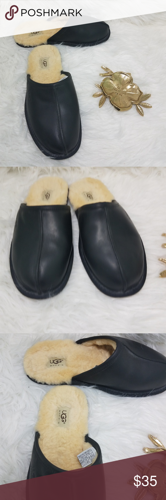 59ae08019b2 UGG Black Leather Scuff Slippers - Size 8 Gently Worn, in great ...